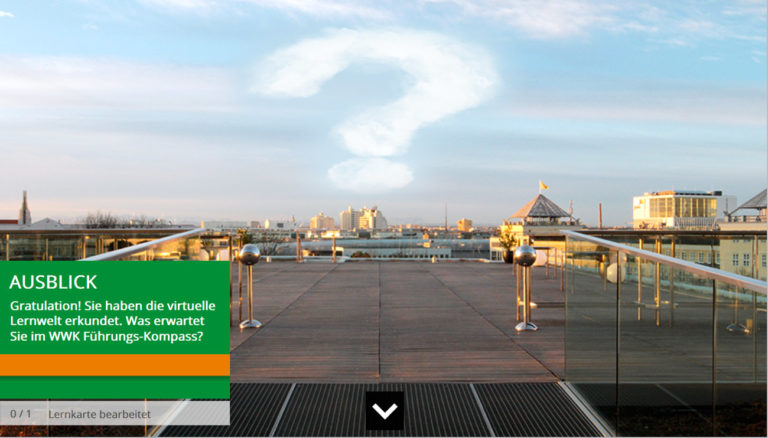 Produktscreenshot aus der E-Learning Lösung für WWK, Dachterasse