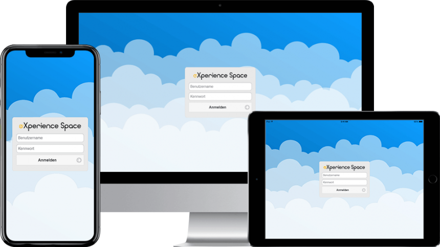 Der Login-Bildschirm der Learning Cloud App zur Lernplattform eXperience Space