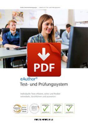 Vorschaubild zum PDF-Download der Broschüre zum eAuthor Test- & Prüfungssystem